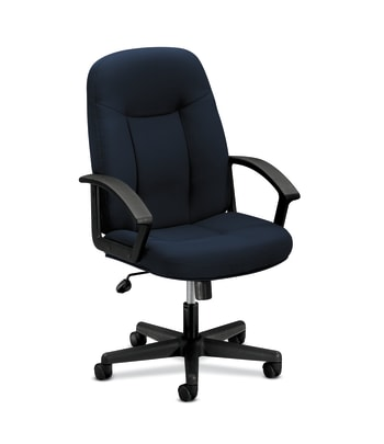HON High-Back Executive Chair | Center-Tilt | Fixed Arms | Navy Fabric