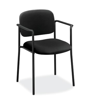 HON Scatter Stacking Guest Chair | Fixed Arms | Black Fabric
