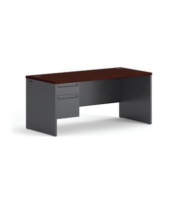 "HON 38000 Series Left Pedestal Desk   1 Box / 1 File Drawer   66""W   Mahogany Laminate   Charcoal Finish"