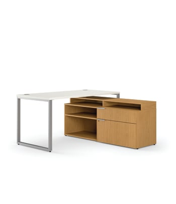 "HON Voi Compact L-Workstation | Desk, Low Credenza, Layering Shelf | 60""W x 60""D 