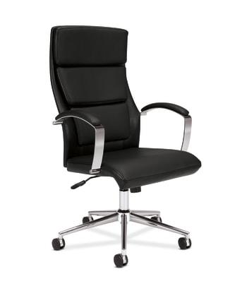 HON High-Back Executive Chair | Center-Tilt | Polished Aluminum | Black SofThread Leather