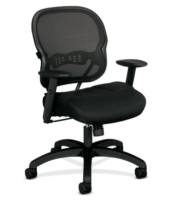 HON Wave Mesh Mid-Back Chair | Synchro-Tilt | Adjustable Arms | Black Sandwich Mesh