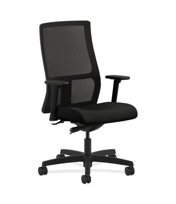 HON Ignition Mid-Back Mesh Task Chair   Synchro-Tilt   Adjustable Arms   Black Vinyl