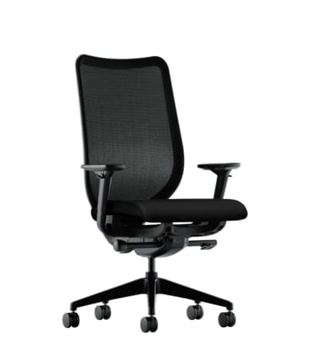 HON Nucleus Task Chair | Black 4-way stretch Back | Synchro-Tilt, Seat Glide | Adjustable Arms | Black Fabric
