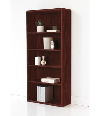 "HON 10700 Series Bookcase | Adjustable Shelves | 32-5/8""W | Mahogany Finish"