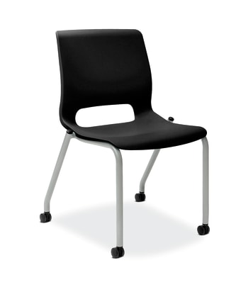 HON Motivate Stacking Chair | Onyx Shell | Textured Platinum Frame | 2 per Carton