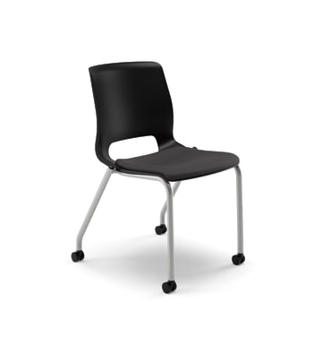 HON Motivate Stacking Chair | Onyx Shell | Textured Platinum Frame | Black Fabric | 2 per Carton
