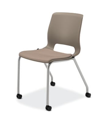 HON Motivate Stacking Chair | Shadow Shell | Textured Platinum Frame | Morel Fabric | 2 per Carton