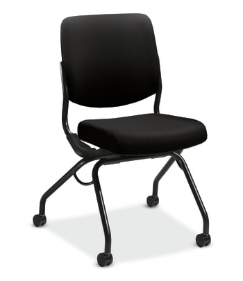 HON Perpetual Upholstered Back Nesting Chair | Flex Motion | Casters | Black Frame | Black Fabric