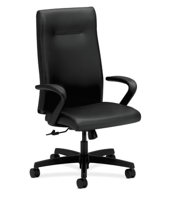HON Ignition Executive High-Back Chair | Center-Tilt | Fixed Arms | Black Leather