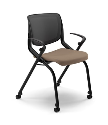 HON Motivate Nesting Stacking Chair | Black 4-way Stretch Back | Fixed Arms | Shadow Shell | Black Frame | Morel Fabric
