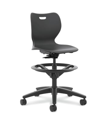 "HON SmartLink Task Stool | Adjustable Footring | Hard Casters | Onyx Shell | 18""H"