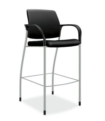 HON Ignition Cafe-Height Stool | Fixed Arms | Black Fabric