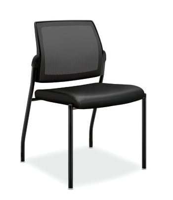 HON Ignition Mesh Back Multi-Purpose Stacking Chair    Armless   Glides   Black Frame   Black Leather