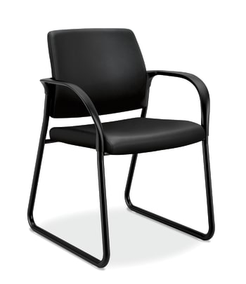 HON Ignition Multi-Purpose Guest Chair | Sled Base | Fixed Arms | Black Leather