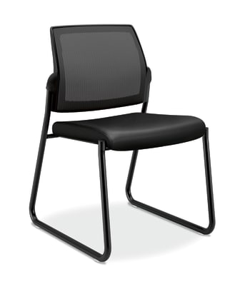 HON Ignition Mesh Back Multi-Purpose Guest Chair | Sled Base | Armless | Black Leather