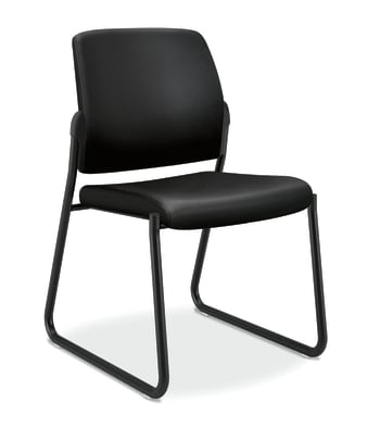 HON Ignition Multi-Purpose Guest Chair | Sled Base | Armless | Black Leather