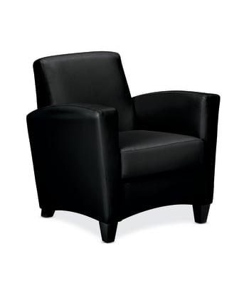 HON Invitation Arm Chair | Black Leather