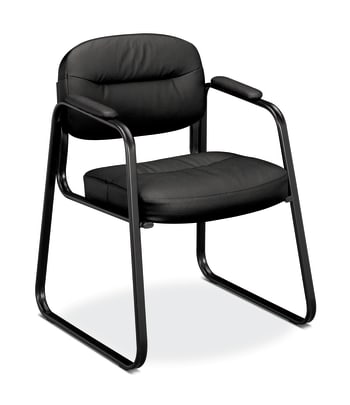 HON Sled Base Guest Chair | Fixed Arms | Black SofThread Leather