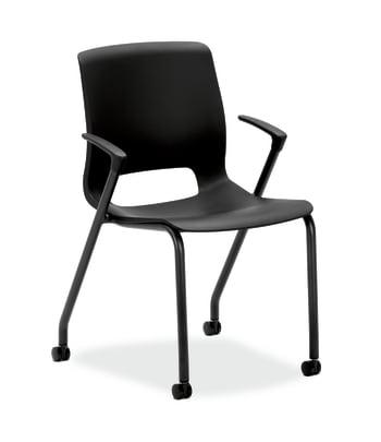 HON Motivate 4-Leg Stack Chair   Set of 2   Onyx Shell   Black Base