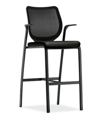 HON Nucleus Knit Mesh Back Stool | Black Mesh Back | Fixed Arms | Black Frame | Black Leather