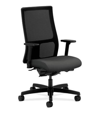 HON Ignition Mid-Back Mesh Task Chair   Synchro-Tilt, Back Angle   Adjustable Arms   Iron Ore Fabric