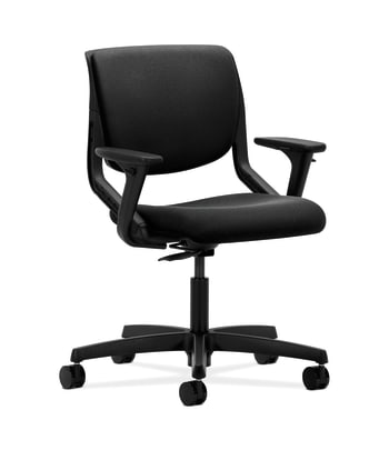 HON Motivate Task Chair | Upholstered Back | Adjustable Arms | Onyx Shell | Black Fabric