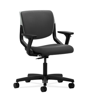 HON Motivate Task Chair | Upholstered Back | Adjustable Arms | Platinum Shell | Iron Ore Fabric