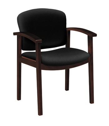 HON Invitation Guest Chair | Fixed Arms | Wood Frame | Mahogany Finish | Black Fabric