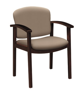 HON Invitation Guest Chair | Fixed Arms | Wood Frame | Mahogany Finish | Morel Fabric