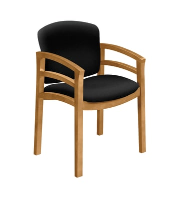 HON Invitation Guest Chair | Fixed Arms | Wood Frame | Harvest Finish | Black Fabric