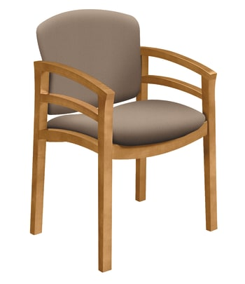HON Invitation Guest Chair | Fixed Arms | Wood Frame | Harvest Finish | Morel Fabric