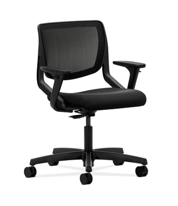 HON Motivate Task Chair | Black 4-way stretch Back | Adjustable Arms | Black Fabric