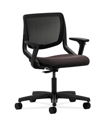 HON Motivate Task Chair | Black 4-way stretch Back | Adjustable Arms | Espresso Fabric