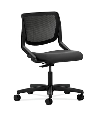 HON Motivate Task Chair | Black 4-way stretch Back | Iron Ore Fabric