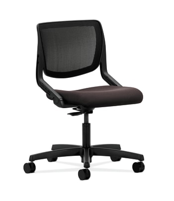 HON Motivate Task Chair | Black 4-way stretch Back | Espresso Fabric