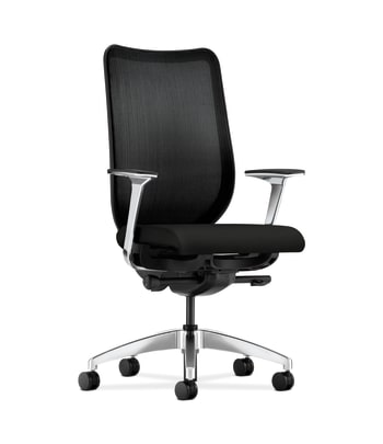 HON Nucleus Task Chair | Black 4-way stretch Back | Synchro-Tilt, Seat Glide | Polished Aluminum Arms and Base | Black Fabric