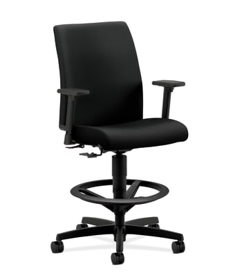 HON Ignition Low-Back Task Stool | Extended Height, Footring | Adjustable Arms with Pivot | Black Fabric