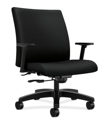 HON Ignition Big and Tall Chair | Center-Tilt | Adjustable Arms with Pivot | Black Fabric