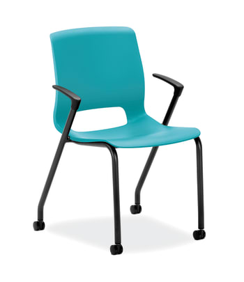 HON Motivate 4-Leg Stack Chair | Set of 2 | Calypso Shell | Black Base