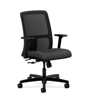 HON Ignition Low-Back Mesh Task Chair | Center-Tilt | Adjustable Arms | Charcoal Vinyl