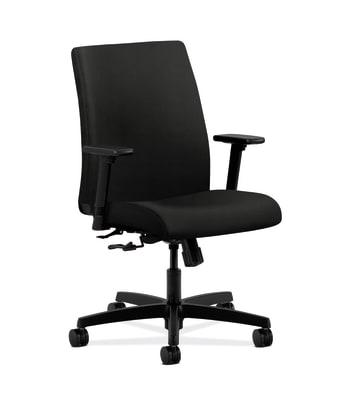 HON Ignition Low-Back Task Chair | Center-Tilt | Adjustable Arms | Black Vinyl