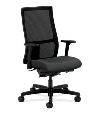 HON Ignition Mid-Back Mesh Task Chair | Synchro-Tilt, Back Angle | Adjustable Arms | Charcoal Vinyl