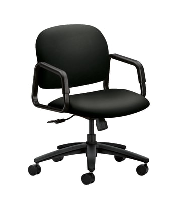 HON Solutions Seating Mid-Back Chair | Center-Tilt | Fixed Arms | Black Fabric