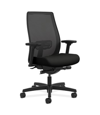HON Endorse Mesh Mid-Back Task Chair   Built-In Lumbar   Synchro-Tilt, Seat Glide   Black Fabric