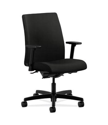 HON Ignition Low-Back Task Chair | Synchro-Tilt, Back Angle | Adjustable Arms | Black Vinyl