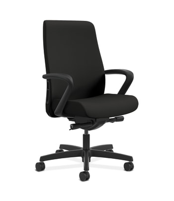 HON Endorse Mid-Back Task Chair | Fabric Outer Back | Built-In Lumbar | Synchro-Tilt, Seat Glide | Black Fabric