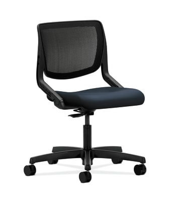 HON Motivate Task Chair | Knit Mesh Back | Onyx Shell | Navy Fabric