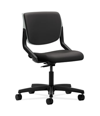 HON Motivate Task Chair | Upholstered Back | Platinum Shell | Charcoal Fabric
