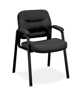 HON Charge Guest Chair | Fixed Arms | Black SofThread Leather